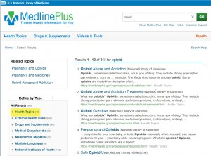 medlineplus search results health topics