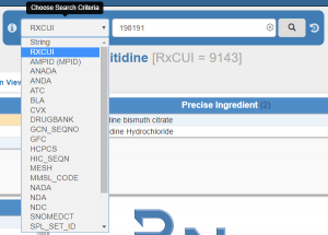 "A screenshot of the RxNav search bar, with the RXCUI ""198191"" in the search box. The ""Choose Search Criteria"" drop-down menu is expanded, with the ""RXCUI"" option highlighted."