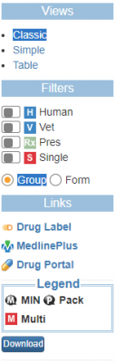 A screenshot of the RxNav left sidebar.