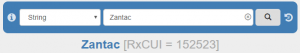 "A screenshot of the RxNav search bar, showing an exact string match for the concept ""Zantac"" [RxCUI= 152523)"
